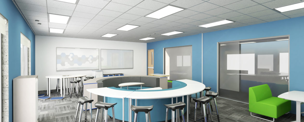 MCS sunny classroom with flexible furniture