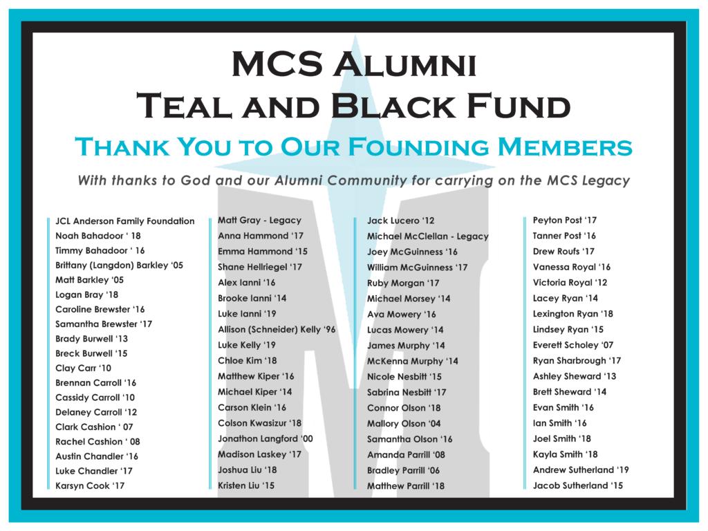 MCS Alumni Teal & Black Fund Donors