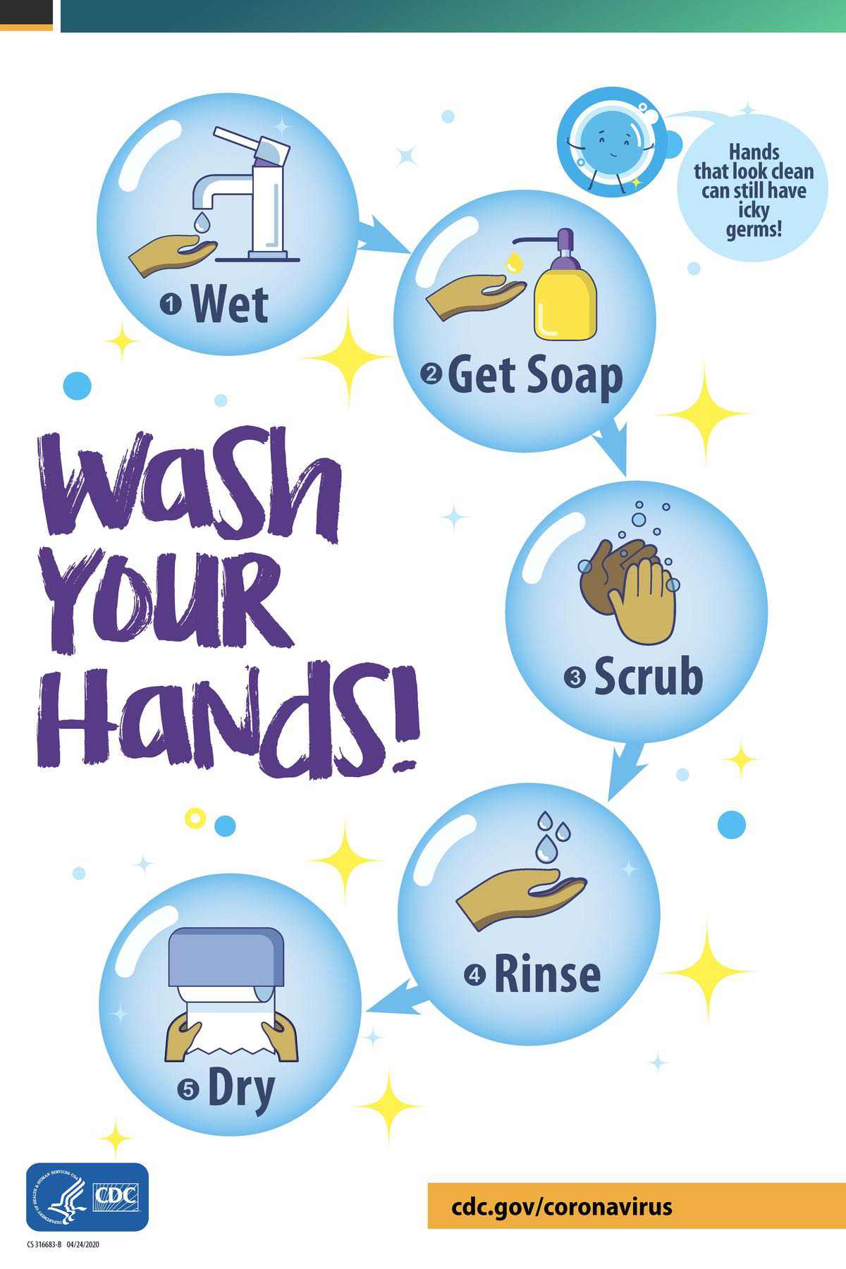 wash your hands bubbles poster